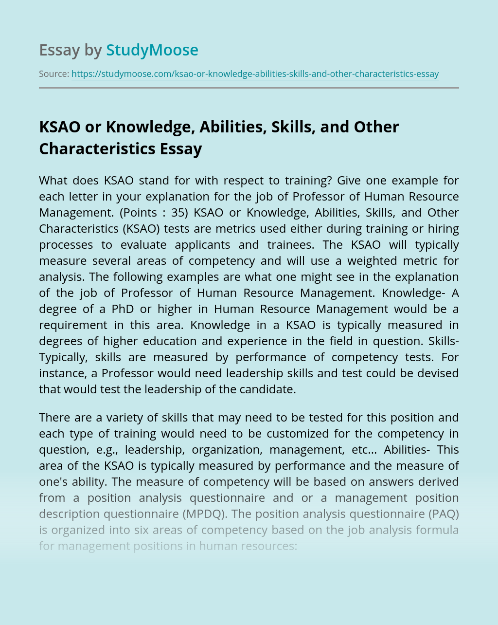 KSAO or Knowledge, Abilities, Skills, and Other Characteristics