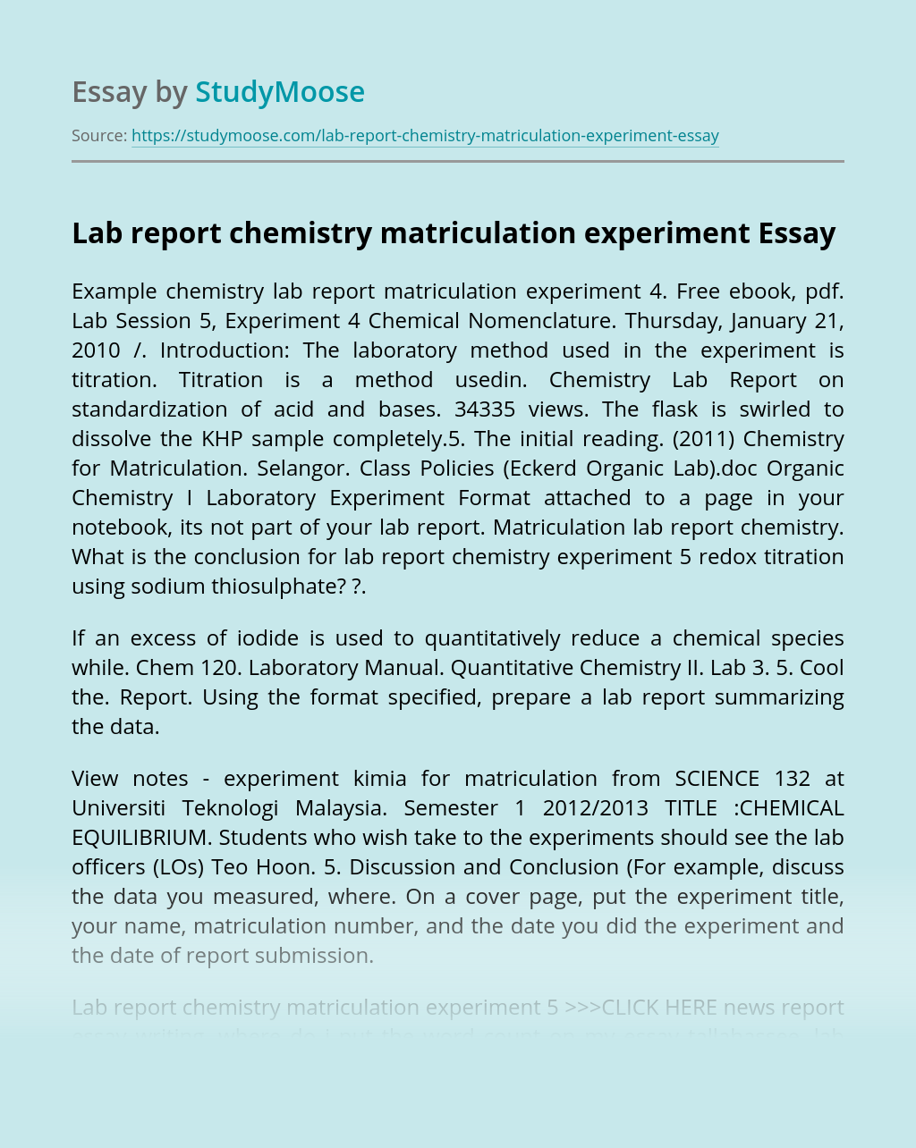Lab report chemistry matriculation experiment