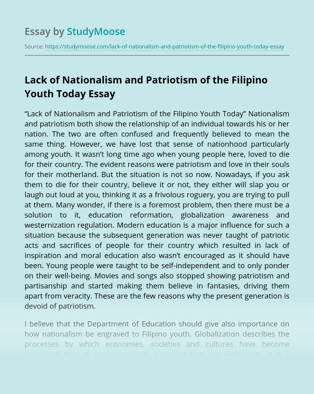 Lack of Nationalism and Patriotism of the Filipino Youth Today