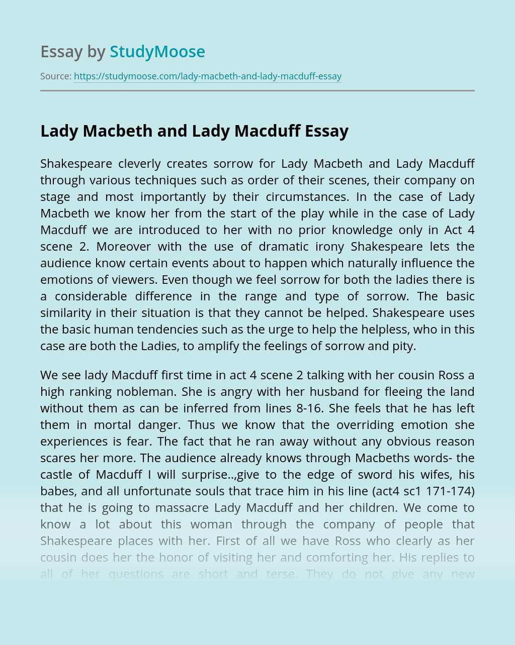 Lady Macbeth and Lady Macduff