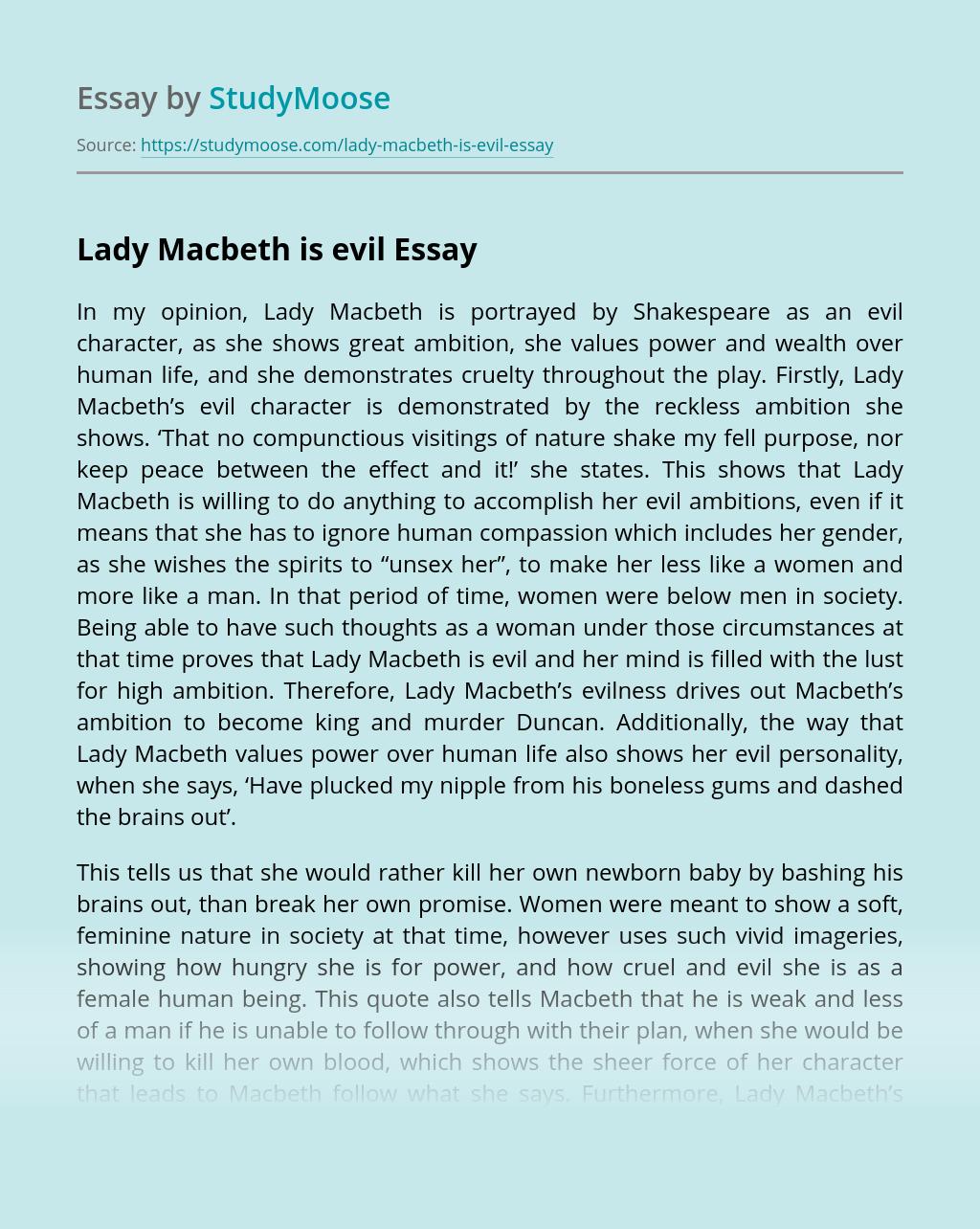 Lady Macbeth is evil
