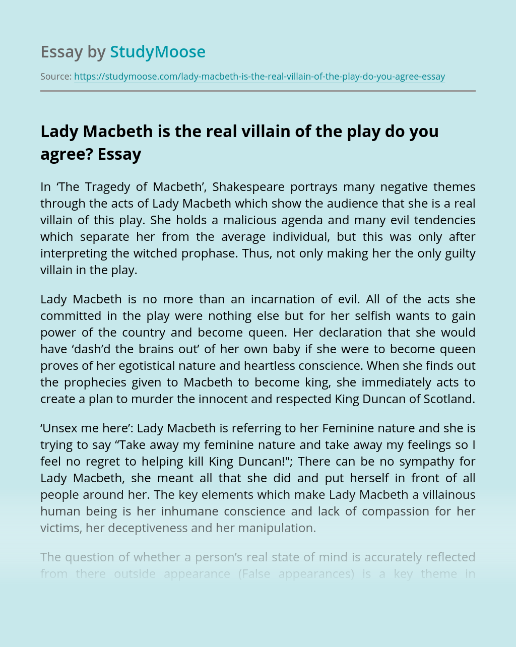Lady Macbeth is the real villain of the play do you agree?