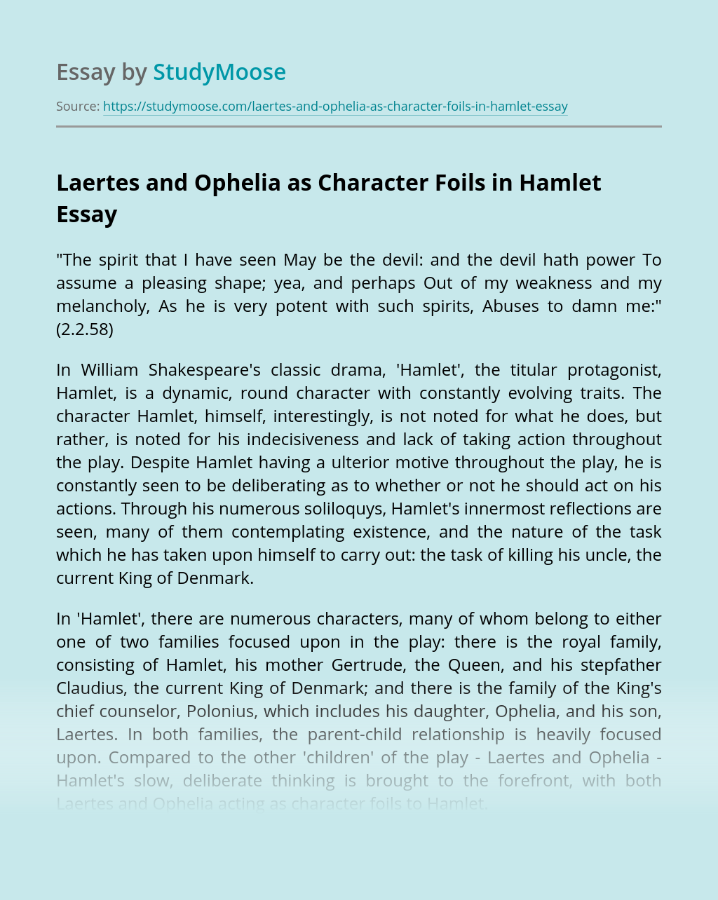 Laertes and Ophelia as Character Foils in Hamlet