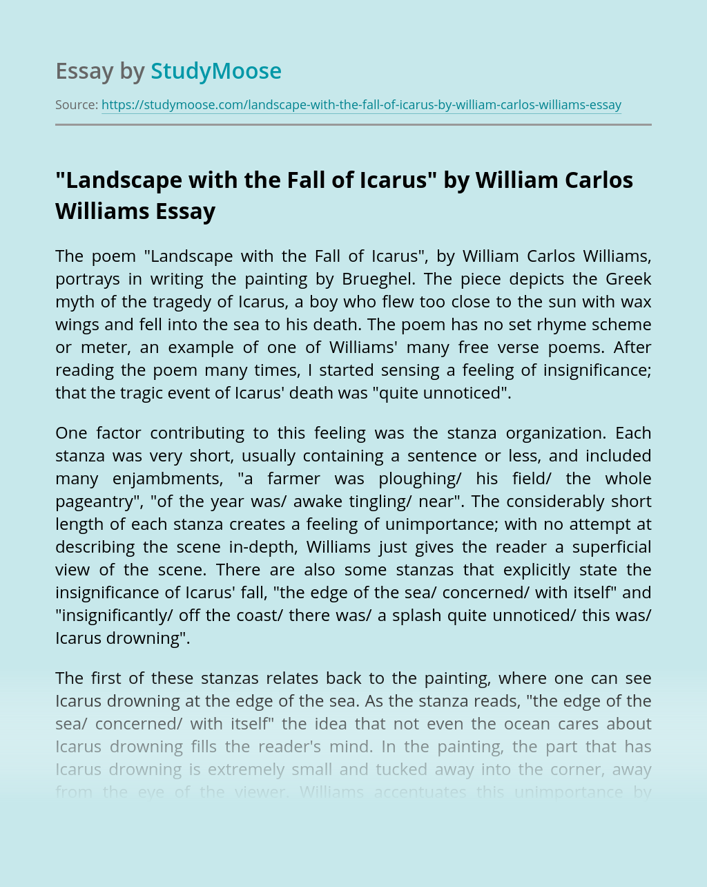 """""""Landscape with the Fall of Icarus"""" by William Carlos Williams"""