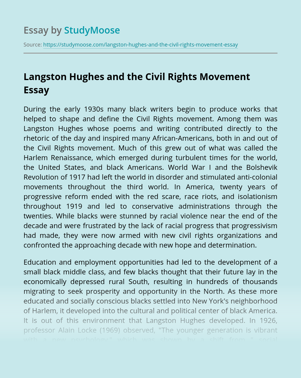 Langston Hughes and the Civil Rights Movement