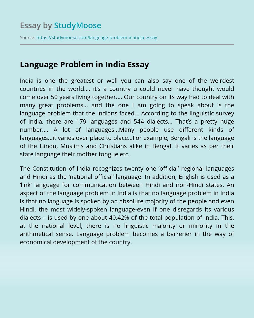 Language Problem in India