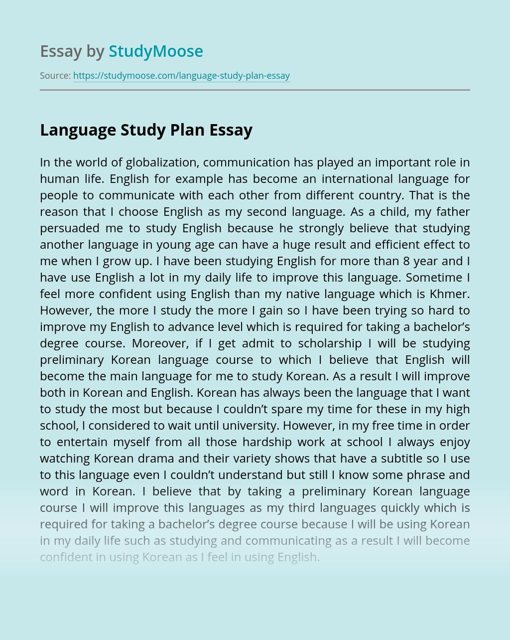 Language Study Plan