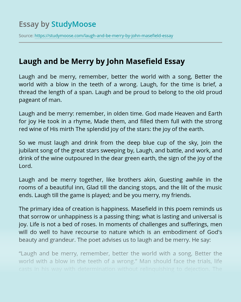 Laugh and be Merry by John Masefield