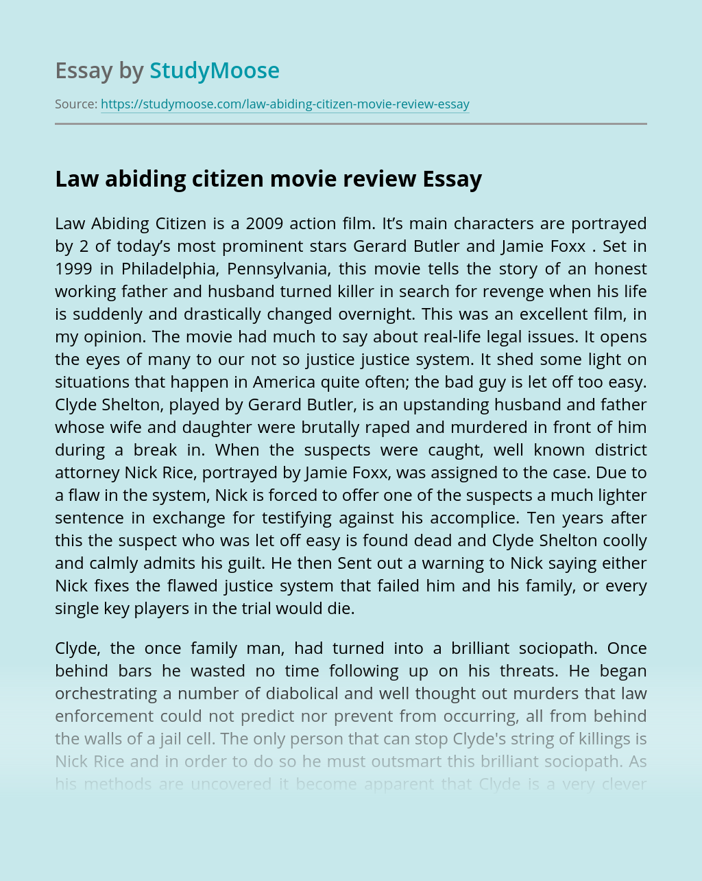 Law abiding citizen movie review