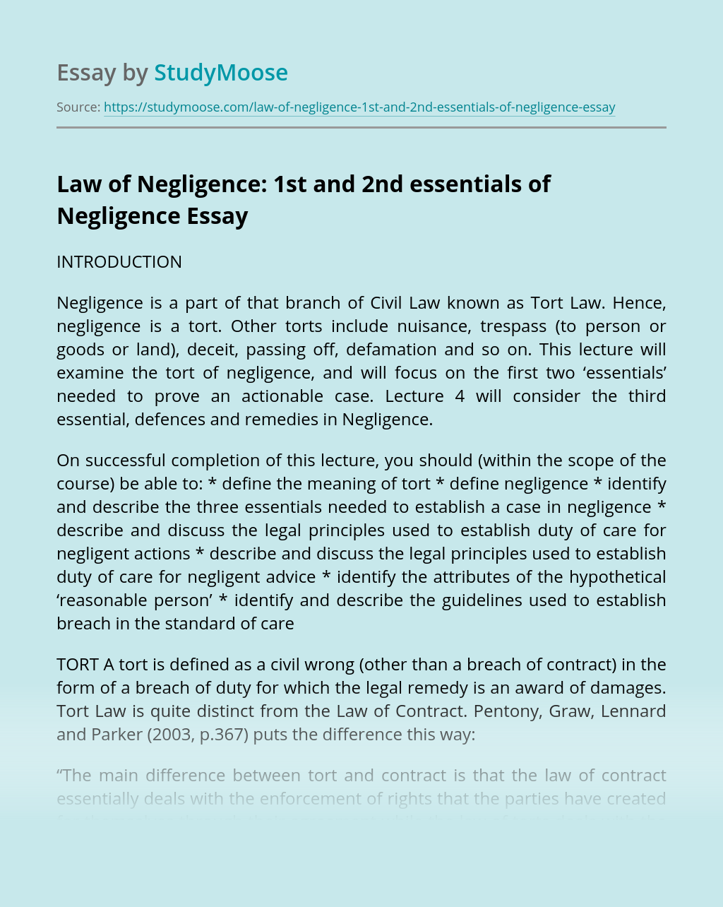 Law of Negligence: 1st and 2nd essentials of Negligence