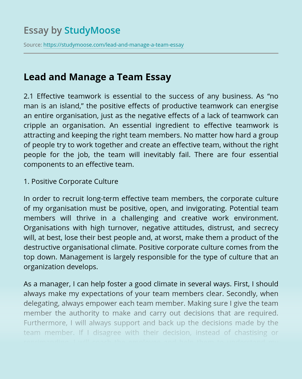 Lead and Manage a Team