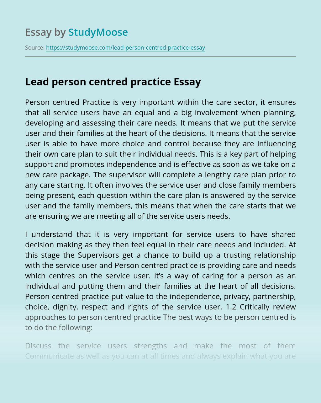 Lead Person Centred Practice