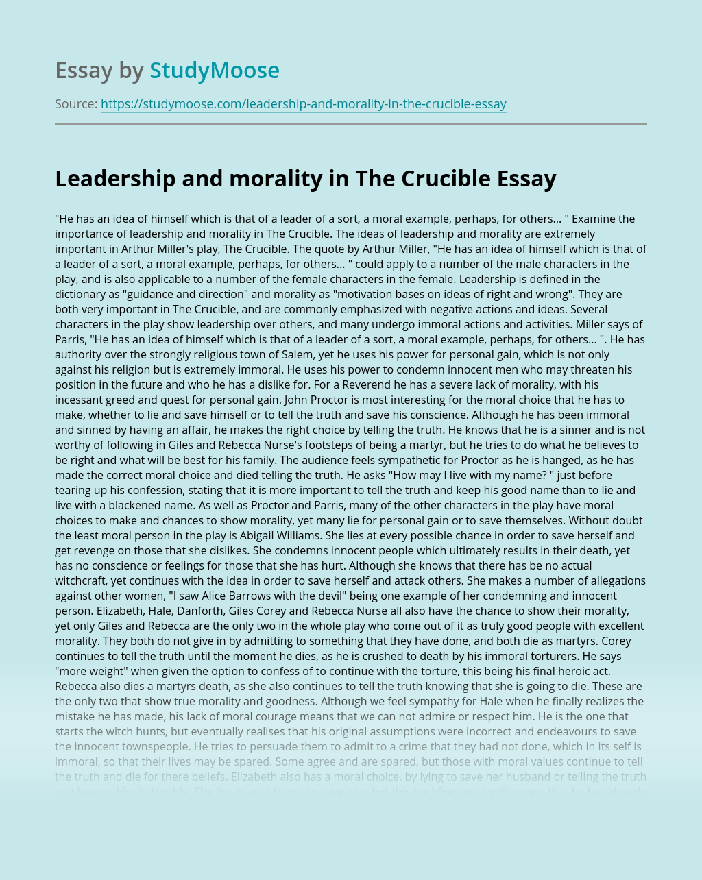 Leadership and morality in The Crucible