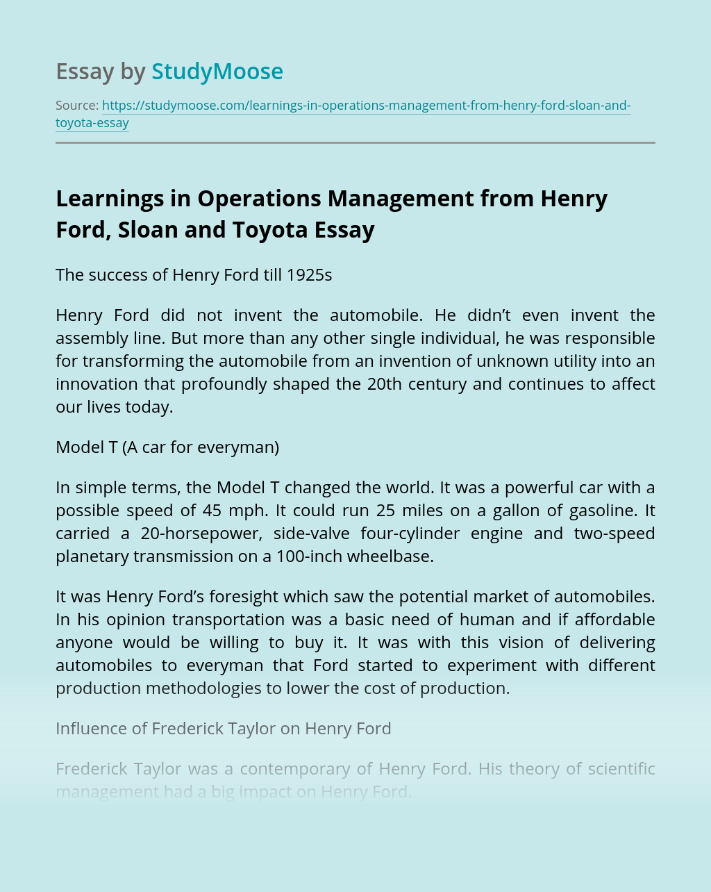 Learnings in Operations Management from Henry Ford, Sloan and Toyota