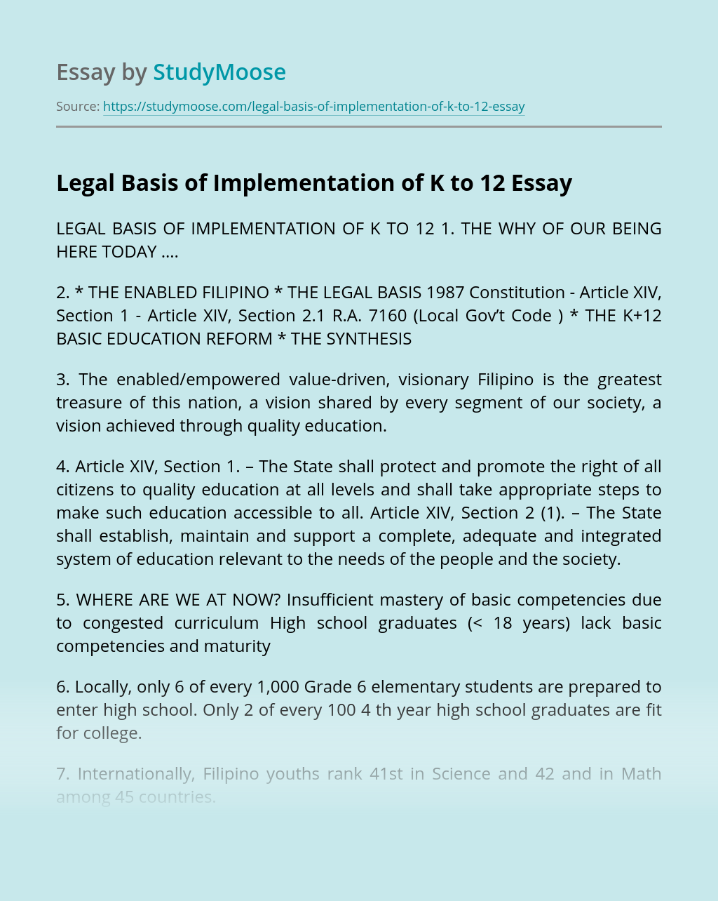 Legal Basis of Implementation of K to 12
