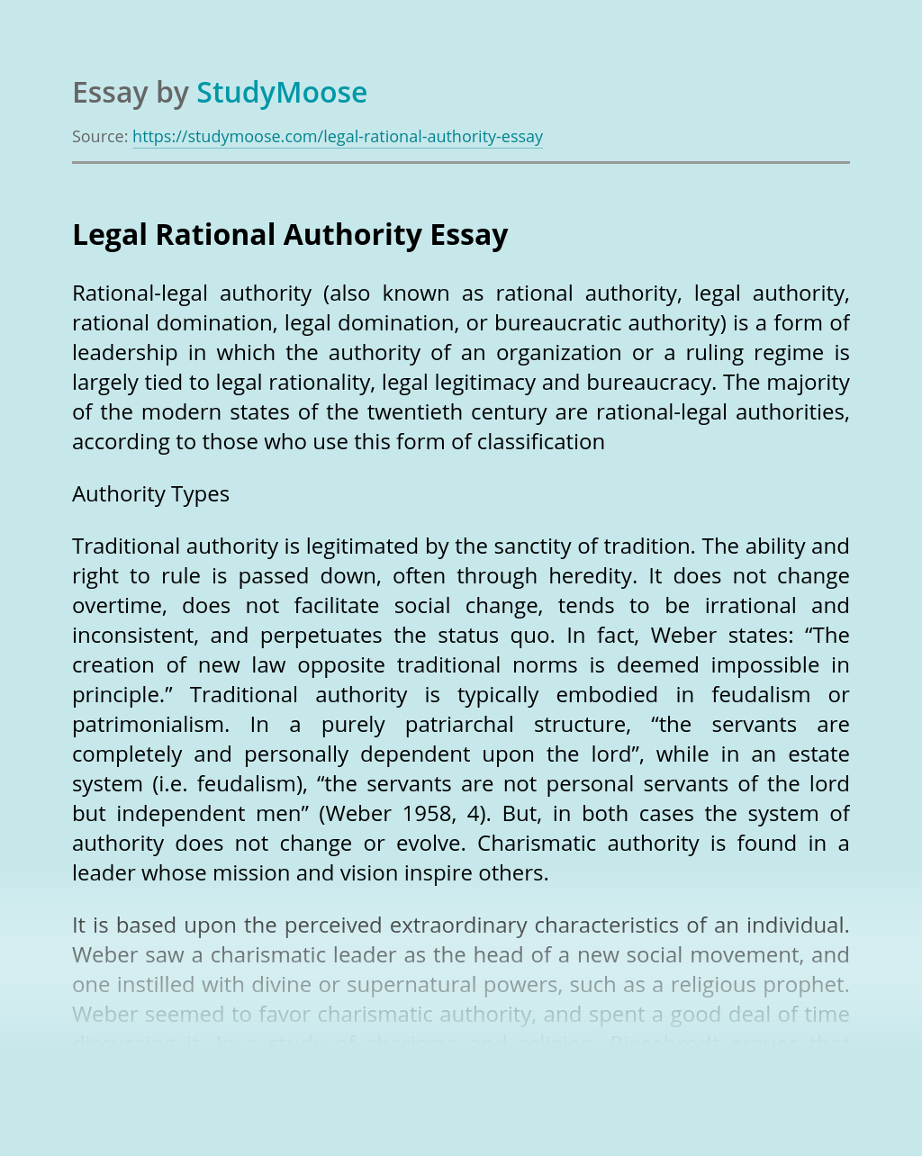 Legal Rational Authority