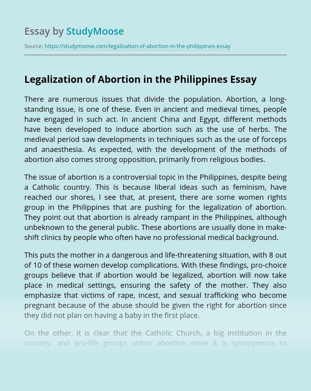 Legalization of Abortion in the Philippines