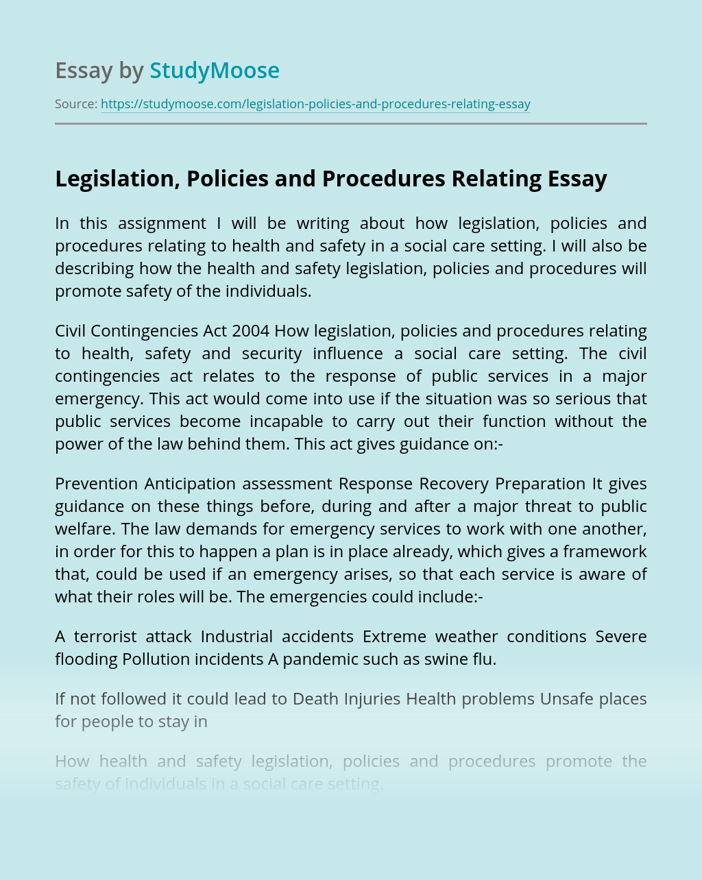Legislation, Policies and Procedures Relating