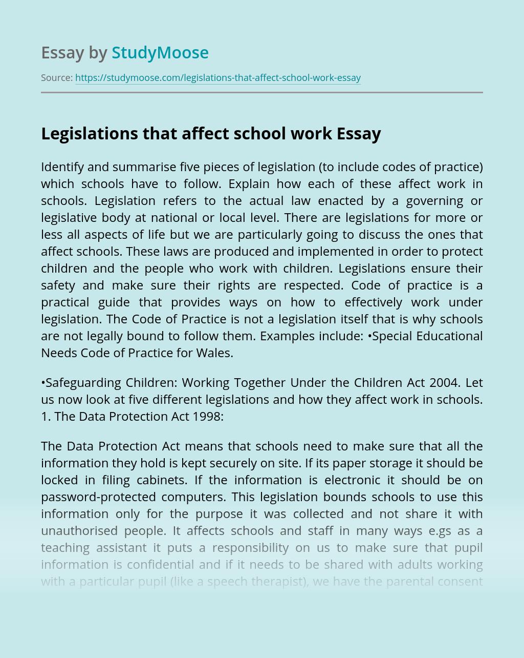 Legislations that affect school work