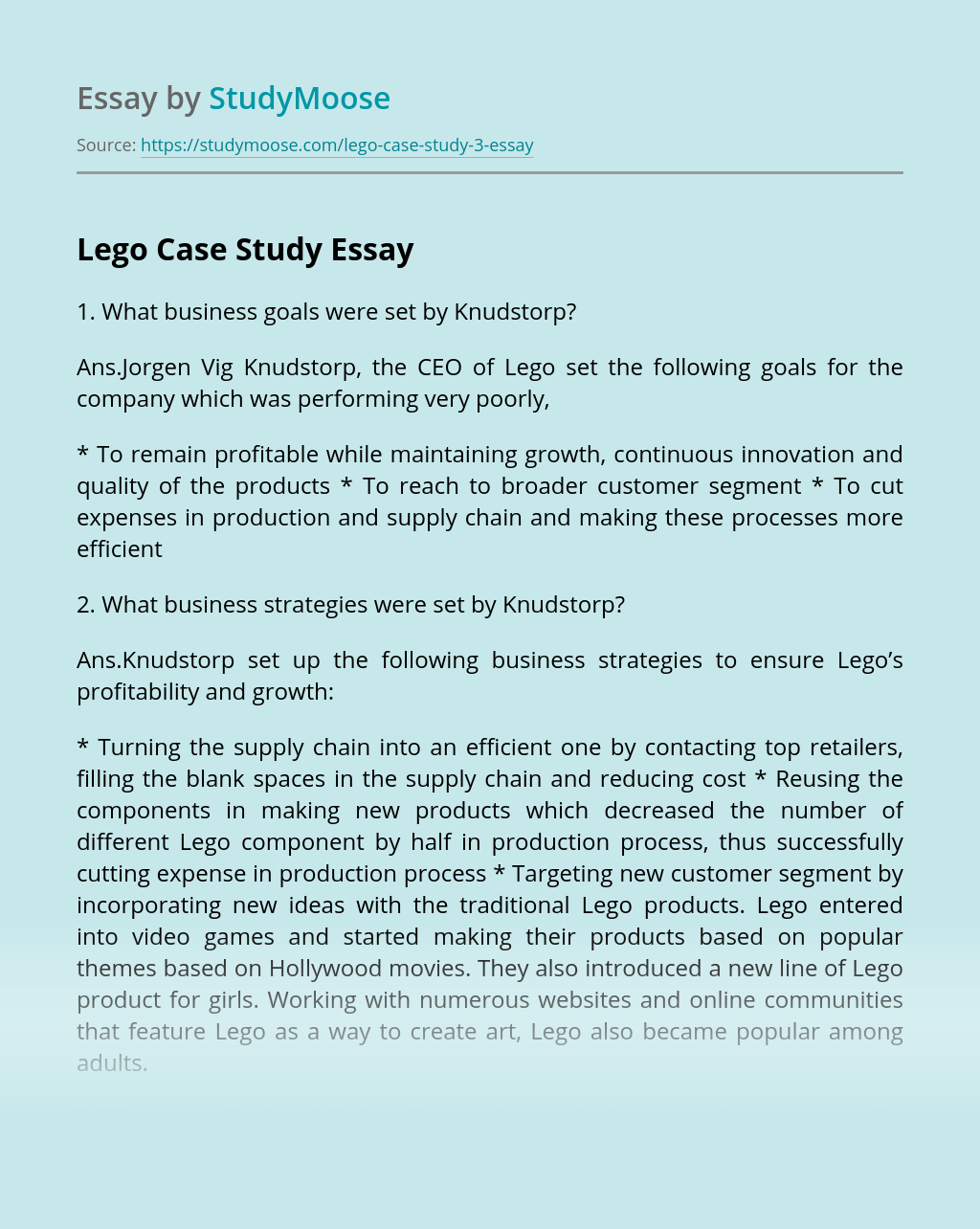 Knudstorp's business strategies of Lego