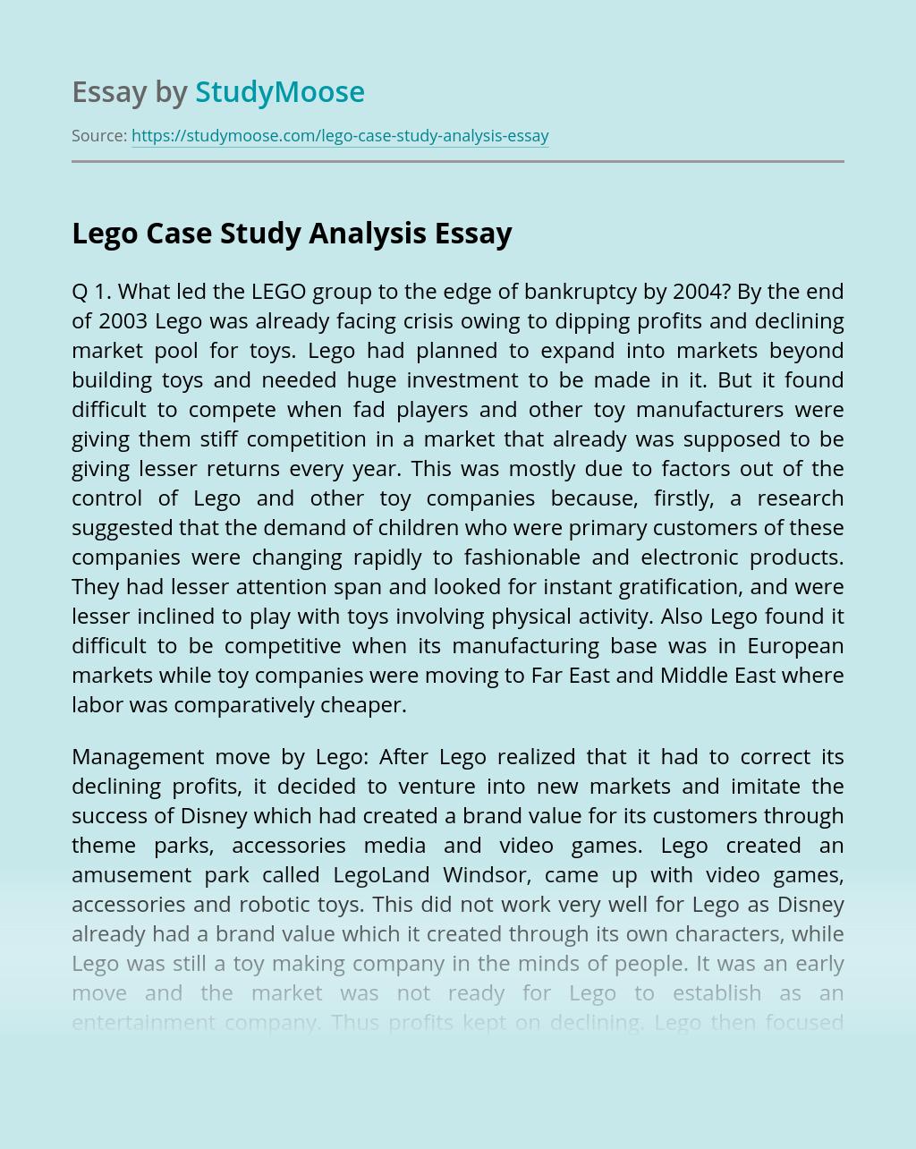 Lego Case Study Analysis