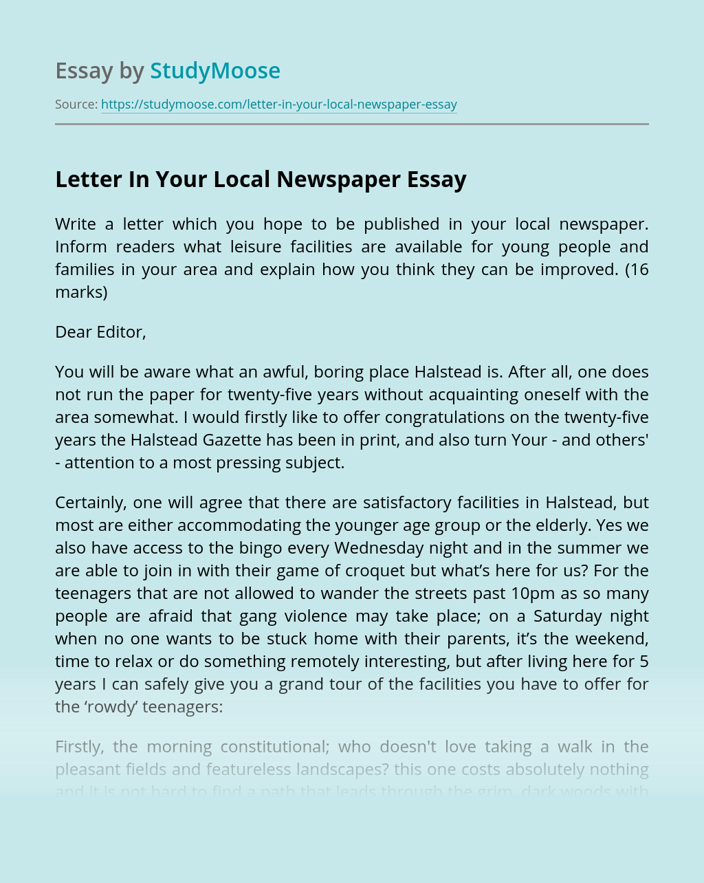 Letter In Your Local Newspaper
