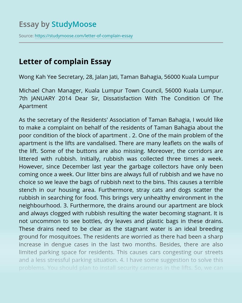 Letter of complain