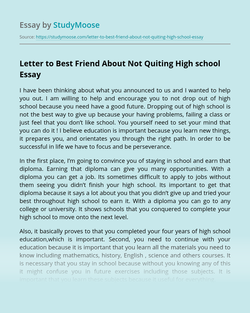 Letter to Best Friend About Not Quiting High school