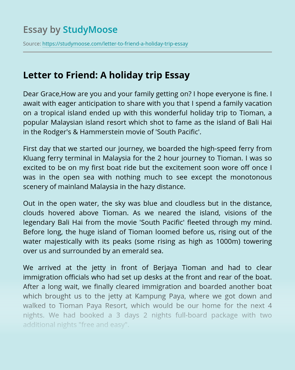 Letter to Friend: A holiday trip