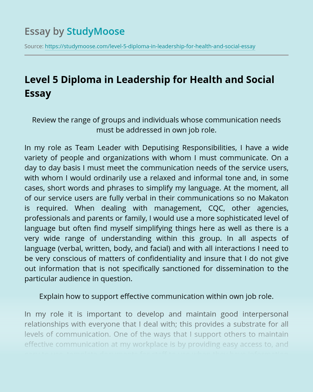 Level 5 Diploma in Leadership for Health and Social