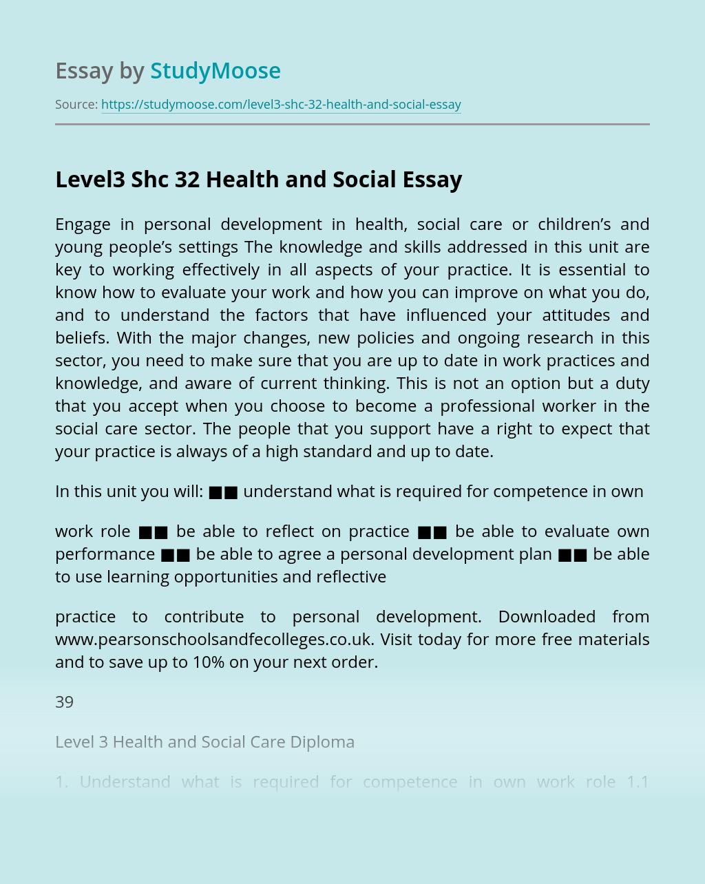Level3 Shc 32 Health and Social