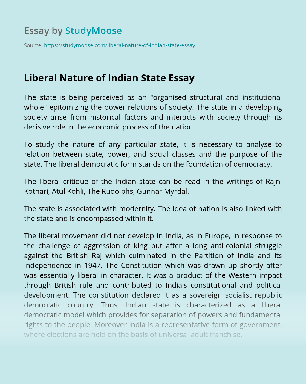 Liberal Nature of Indian State