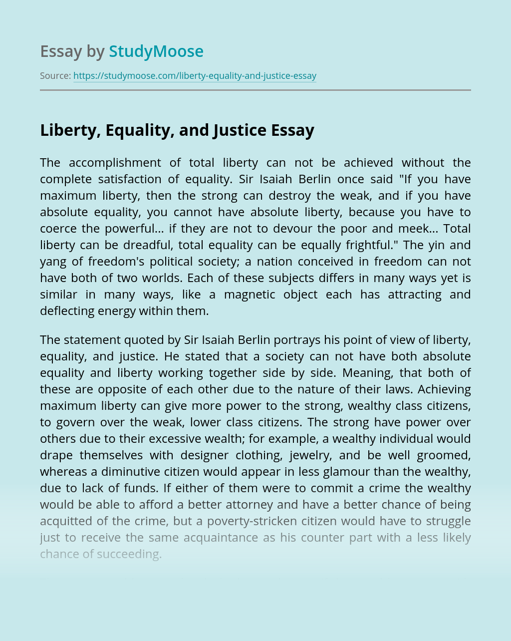 Liberty, Equality, and Justice