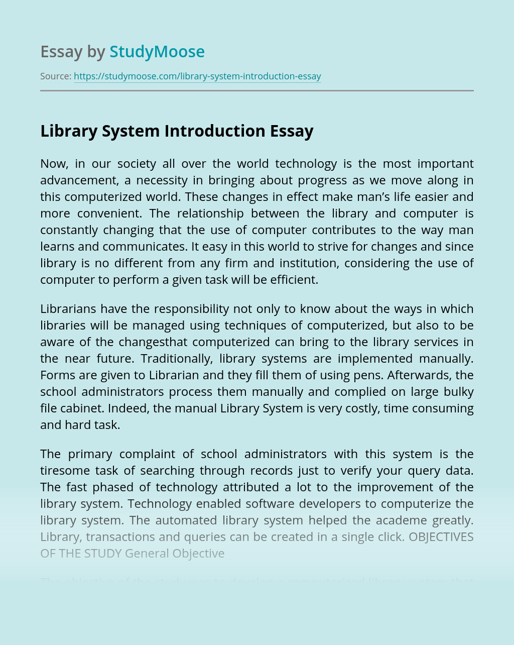 Library System Introduction