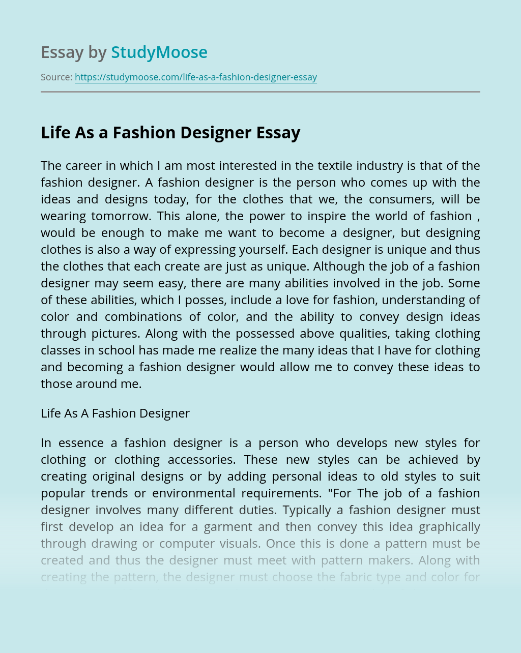 Life As A Fashion Designer Free Essay Example