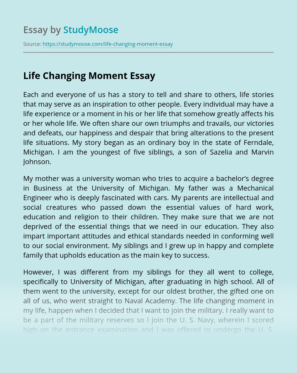 Life changing moment essay