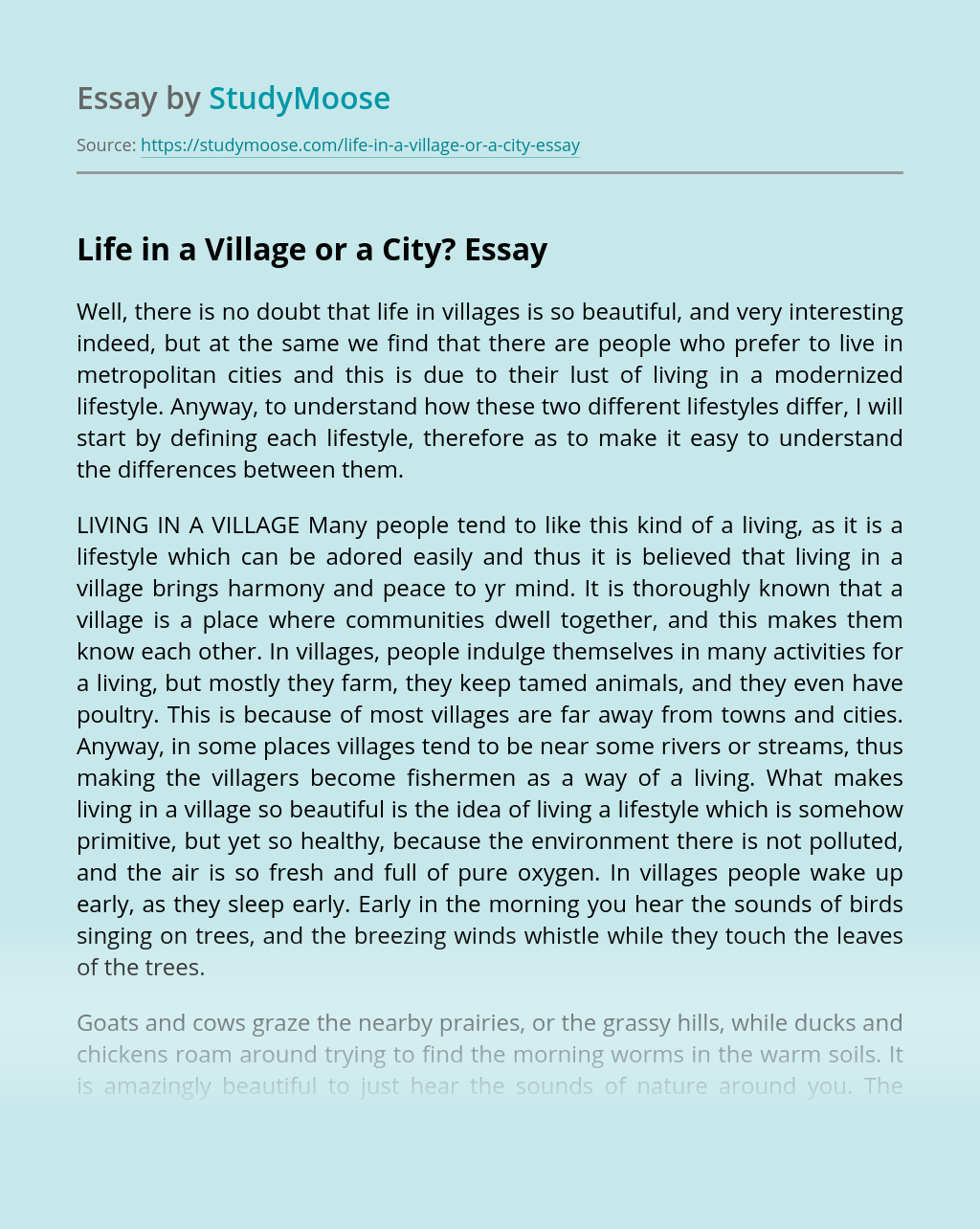 Life in a Village or a City?