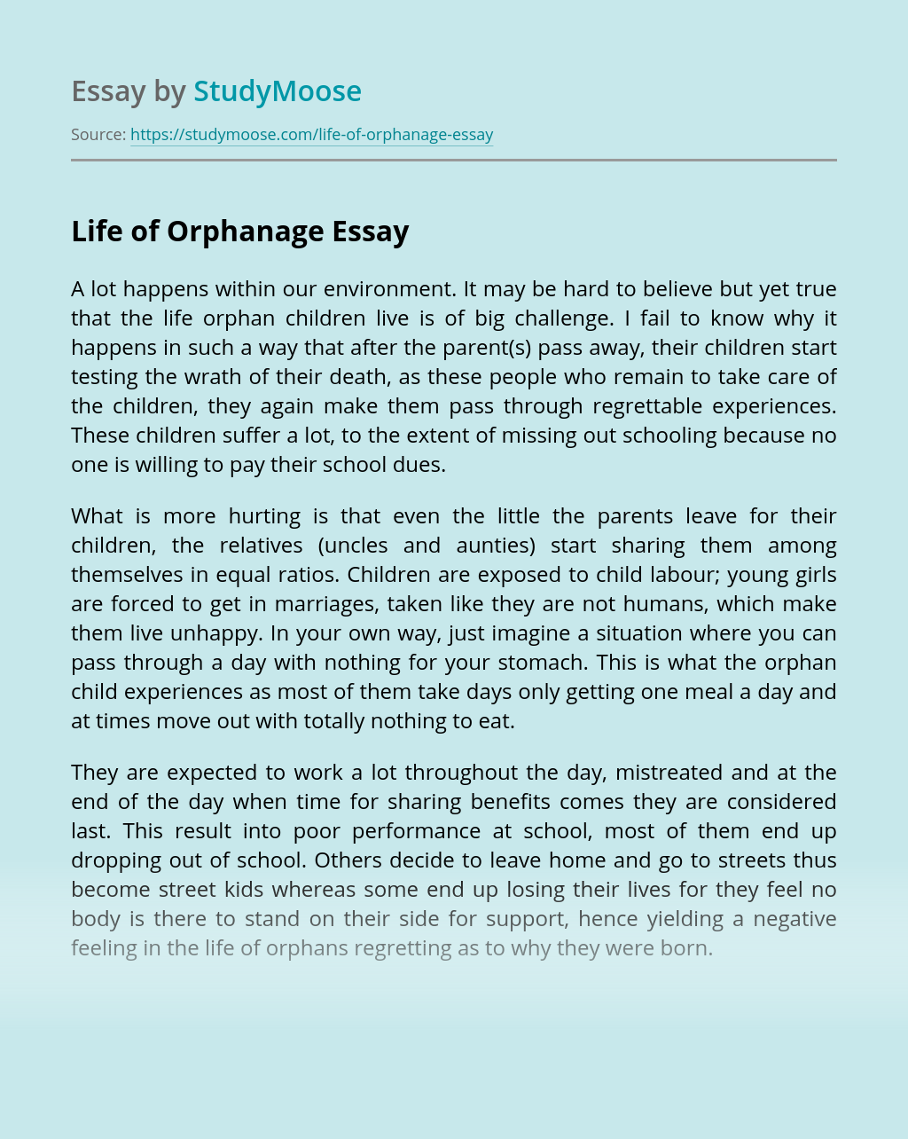 Life of Orphanage