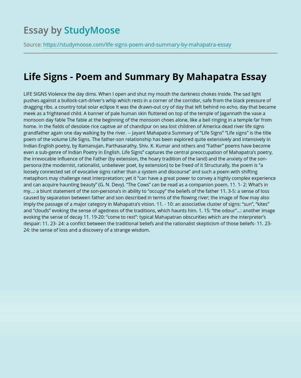 Life Signs - Poem and Summary By Mahapatra