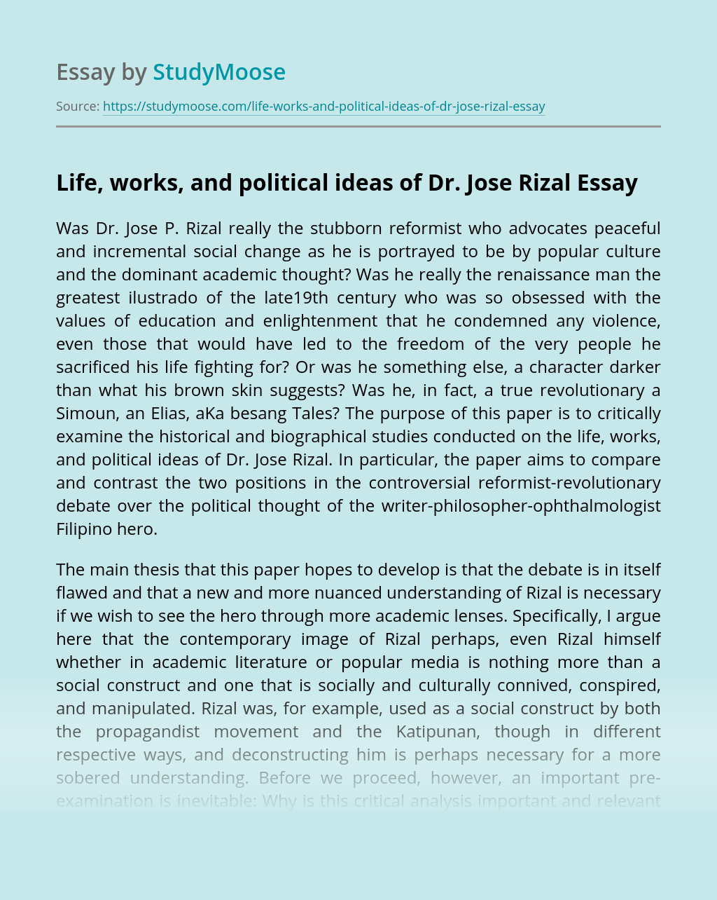 Life, works, and political ideas of Dr. Jose Rizal