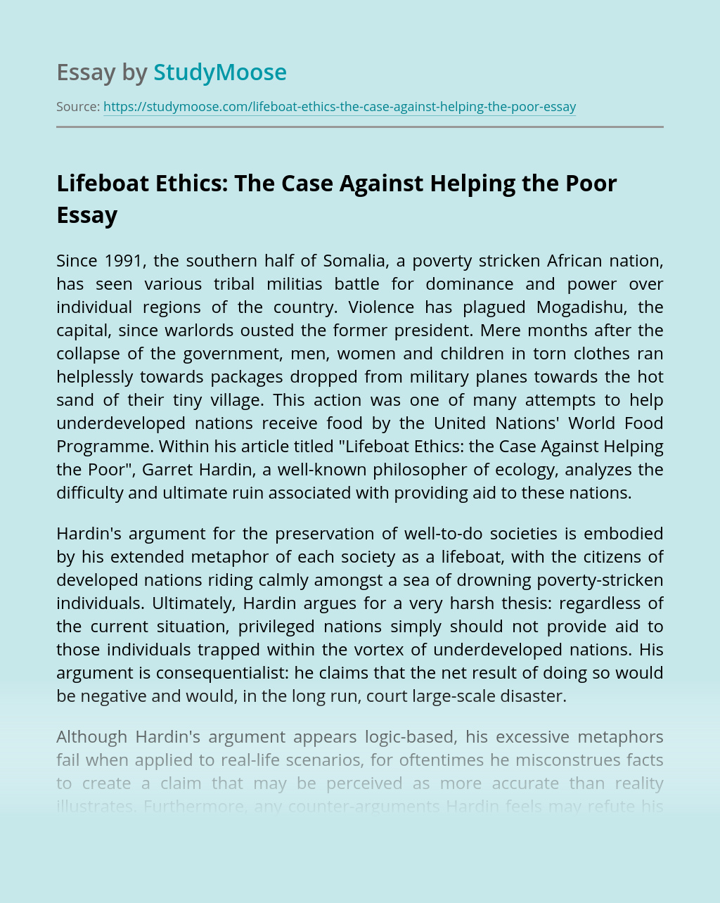 Lifeboat Ethics: The Case Against Helping the Poor