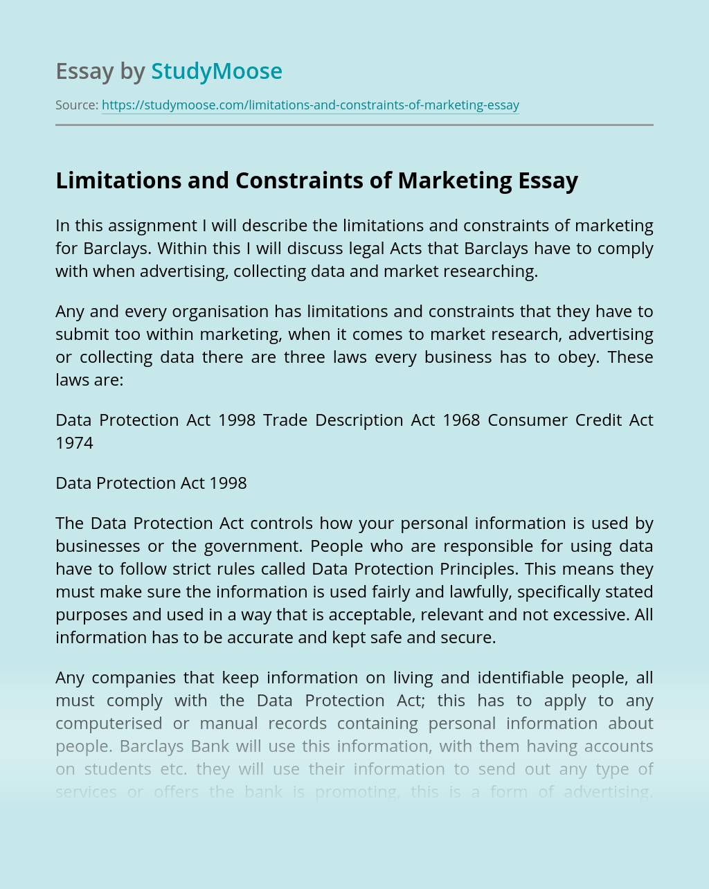 Limitations and Constraints of Marketing