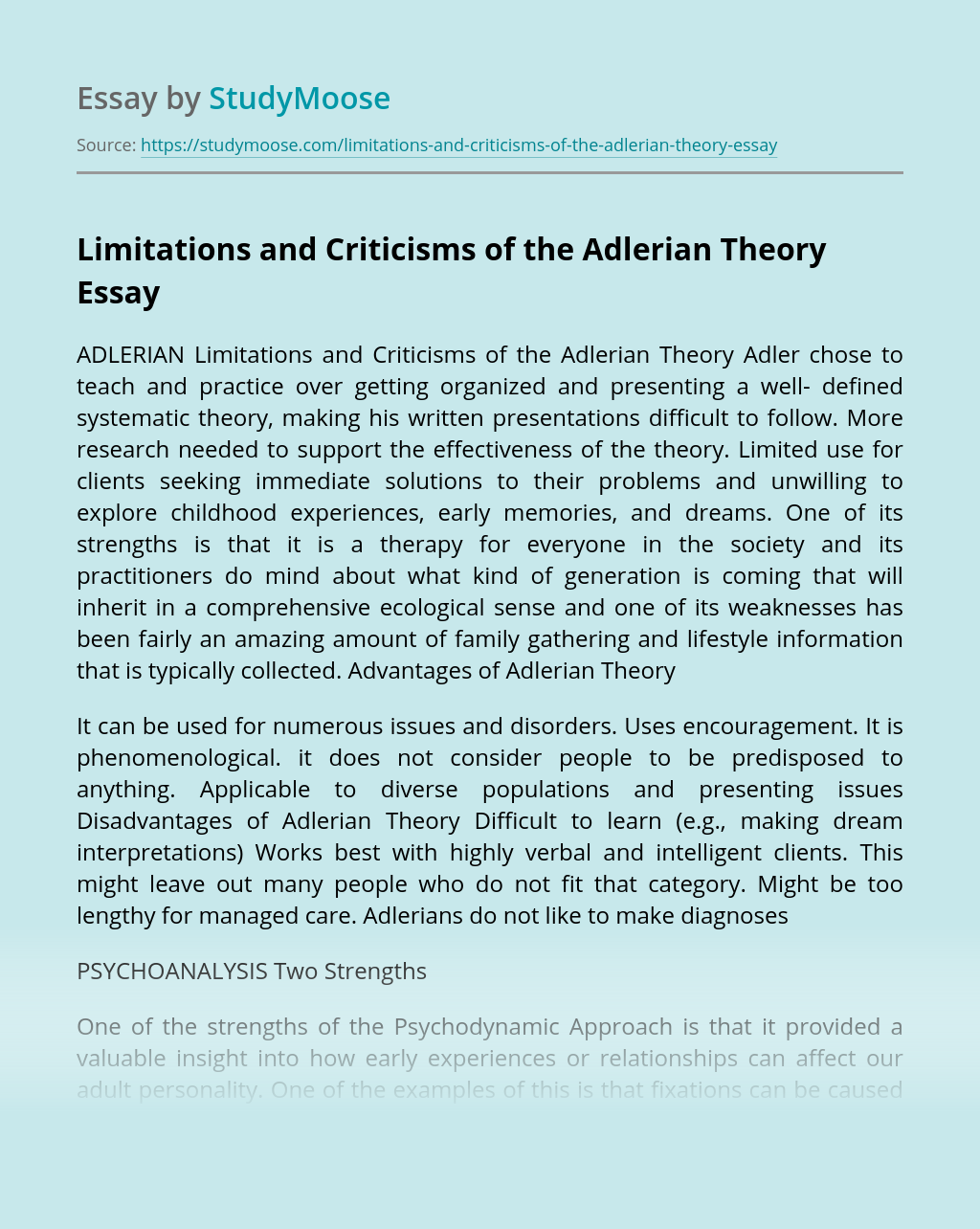 Limitations and Criticisms of the Adlerian Theory