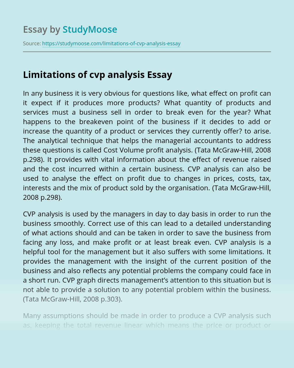 Limitations of cvp analysis