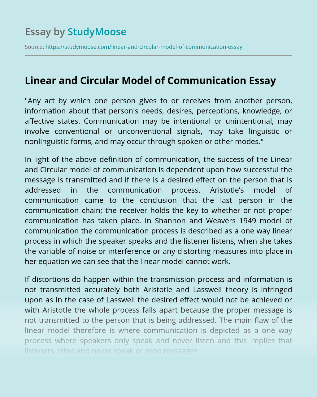 Linear and Circular Model of Communication