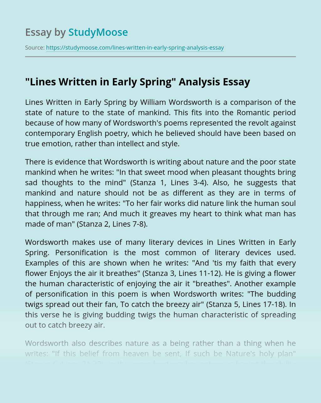 """""""Lines Written in Early Spring"""" Analysis"""