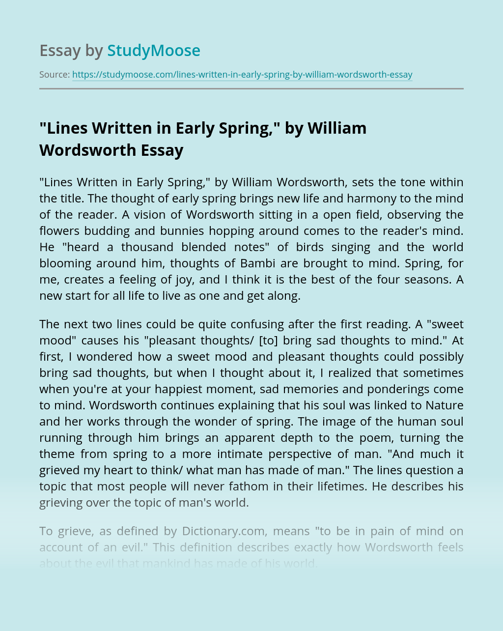 """Lines Written in Early Spring,"" by William Wordsworth"