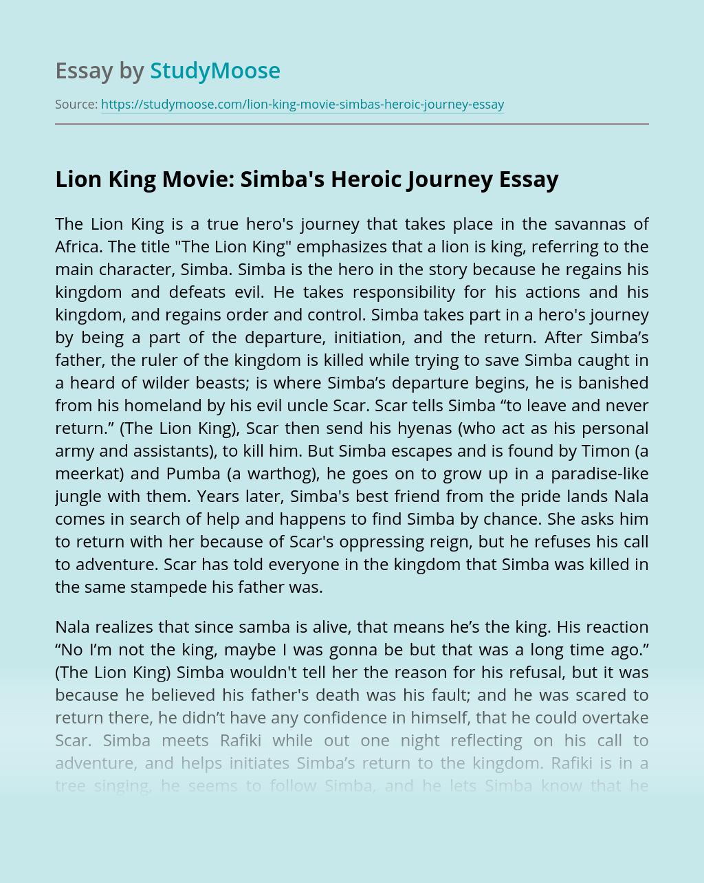 Lion King Movie: Simba's Heroic Journey