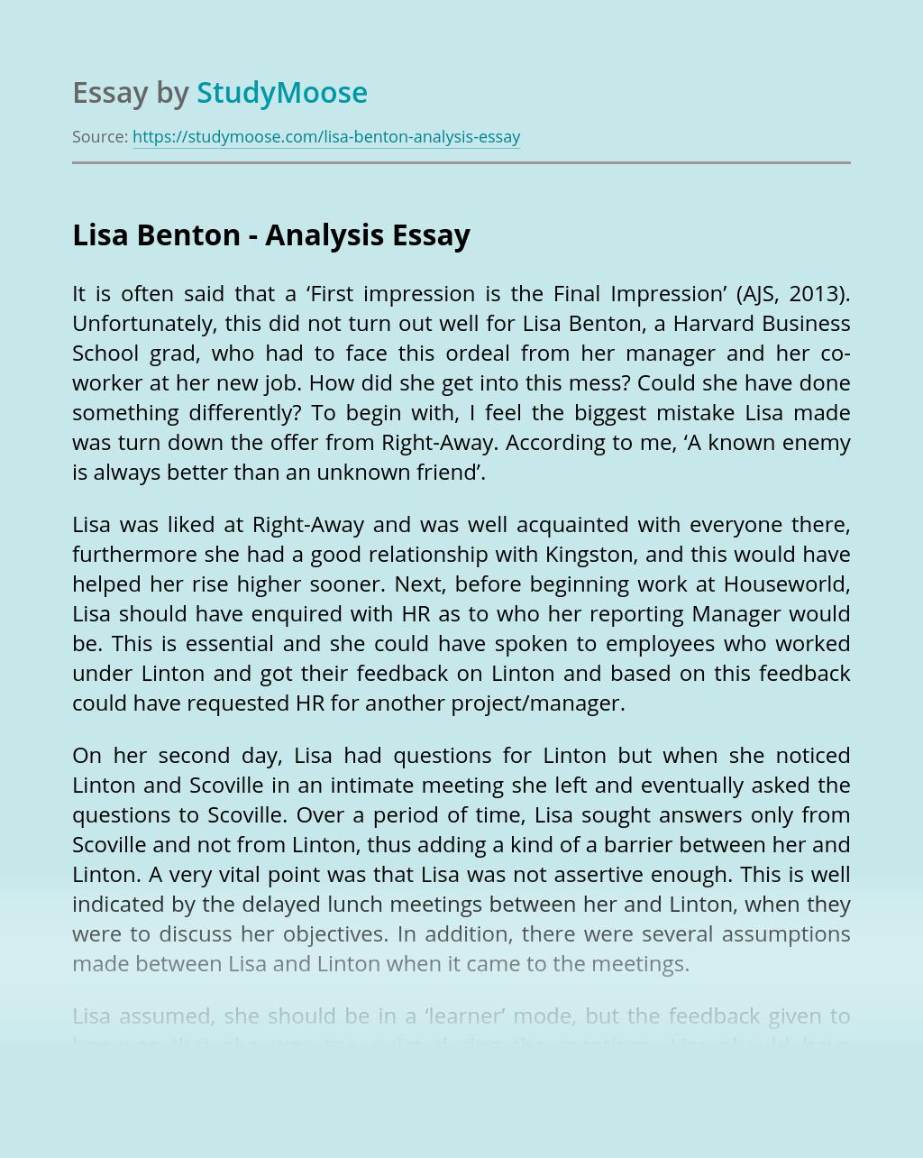 Lisa Benton – Analysis