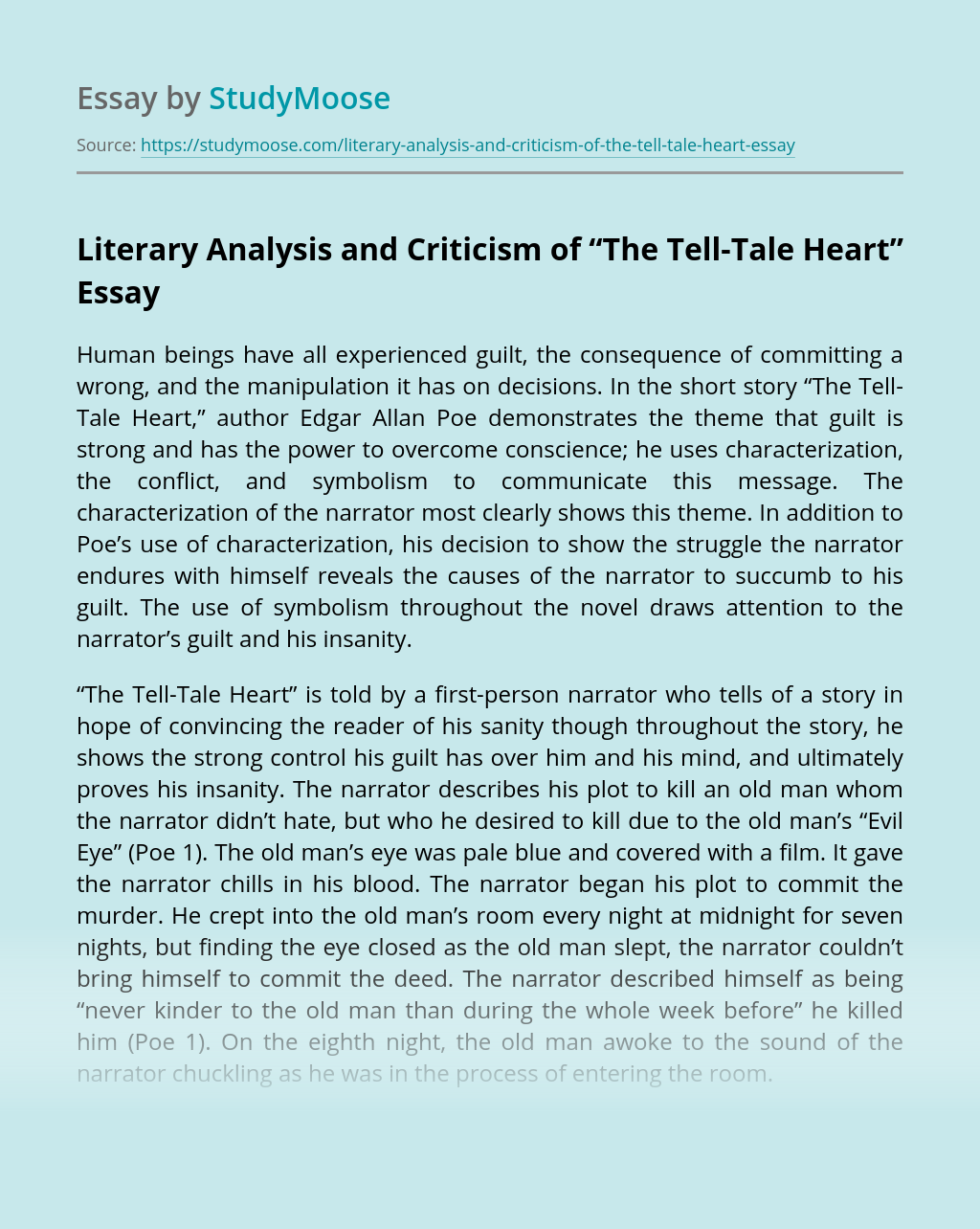 "Literary Analysis and Criticism of ""The Tell-Tale Heart"""